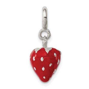 Sterling Silver Rhodium-plated Red Enameled Strawberry Charm