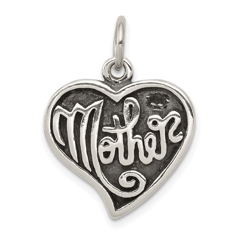 Quality Gold Sterling Silver Antique Mother Heart Charm