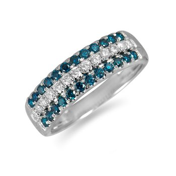 14K WG Blue and White Diamond Band
