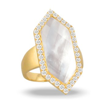 White Orchid Diamond Halo Ring 18KY