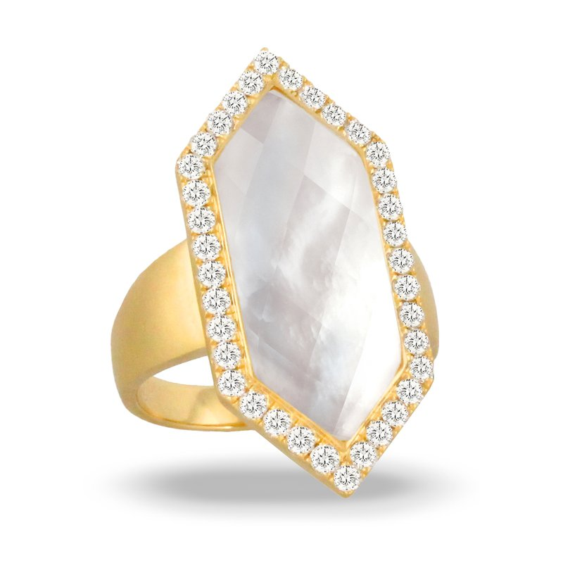 Doves White Orchid Diamond Halo Ring 18KY