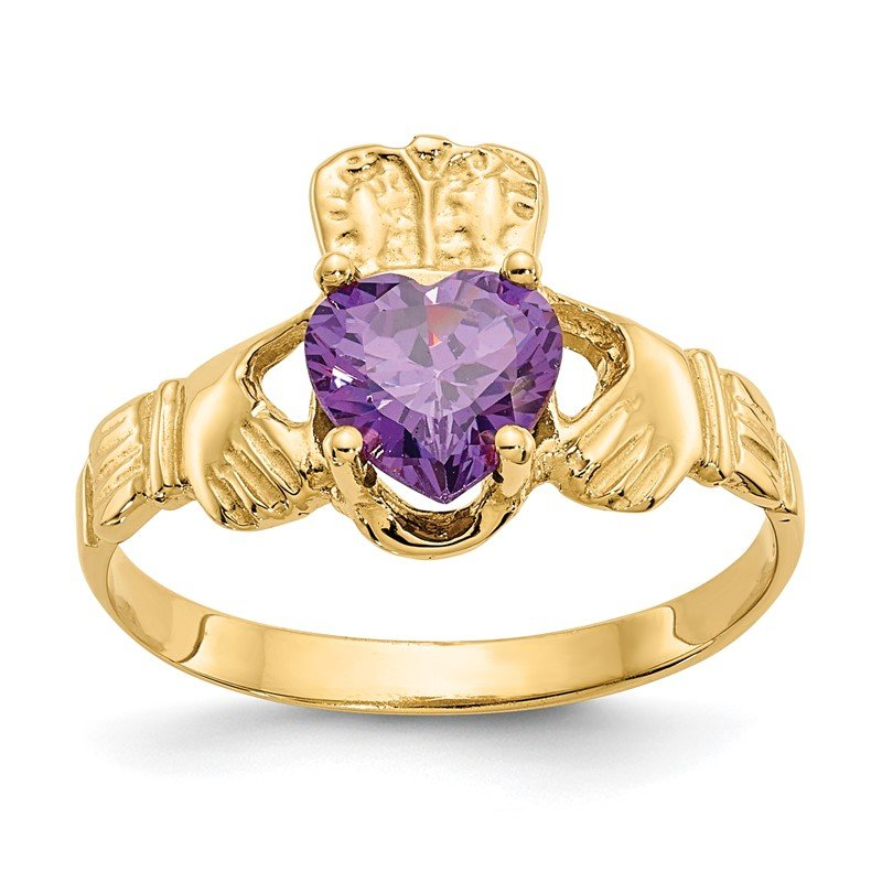 Quality Gold 14k February CZ Birthstone Claddagh Ring