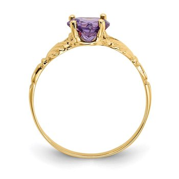14k February CZ Birthstone Claddagh Ring