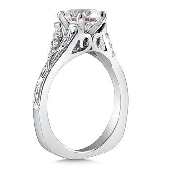 Diamond Engagement Ring Mounting in 14K White Gold with Platinum Head (.12 ct. tw.)