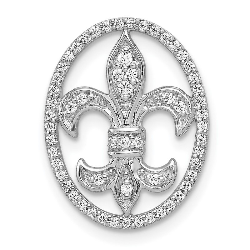 Quality Gold 14k White Gold Oval 1/5ct. Diamond Fleur de Lis Chain Slide