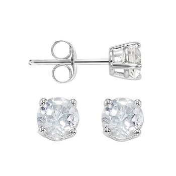 Four Prong White Topaz Studs in 14K White Gold (4.5 MM)