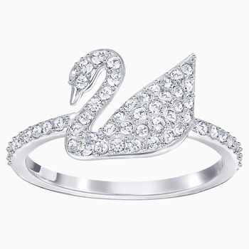 Swarovski Iconic Swan Ring, White, Rhodium plated
