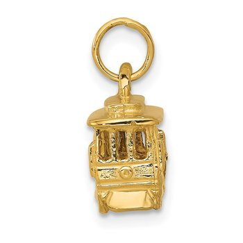 14k Cable Car Charm