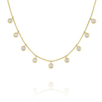 Floating Round Diamond Station Necklace Set in 14 kt. Gold