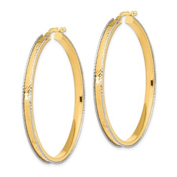 14K Two-Tone Large 2x45mm Diamond Cut Hoop Earrings