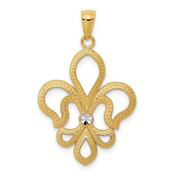 14k w/Rhodium Diamond-cut Satin Fleur de Lis Pendant