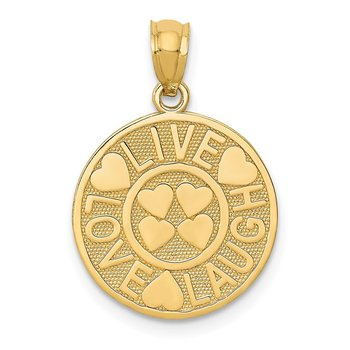 14K LIVE LOVE LAUGH Circle Pendant