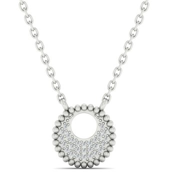 Diamond Medallion Starlight Pendant Necklace in 14k White Gold (0.05ctw)