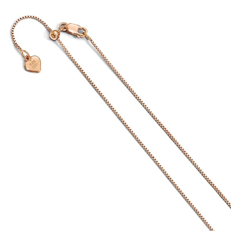 Leslie's Leslie's Sterling Silver Rose Gold-plated Adjustable .85mm Box Chain