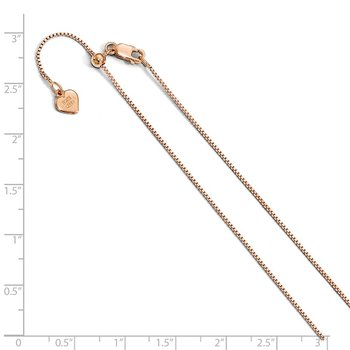Leslie's Sterling Silver .85 mm Rose Gold-plated Adjustable Box Chain