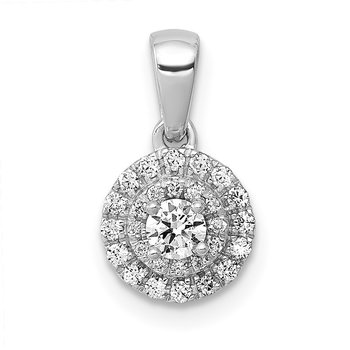 14k White Gold 1/4ct. Diamond Round Halo Cluster Pendant