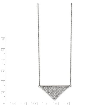 Stainless Steel Polished Preciosa Crystal Triangle 16in w/2in ext Necklace