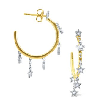 14k Gold and Diamond Celestial Hoop Earrings