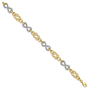 14K Two-tone Infinity Hollow Bracelet