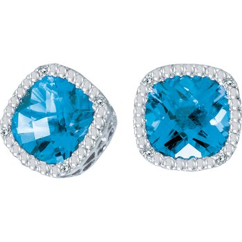 14k White Gold Blue Topaz Cushion and Diamond Earrings