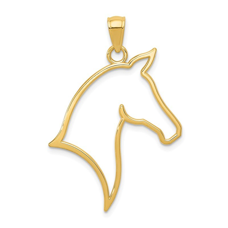 Quality Gold 14k Polished Cut Out Horse Head Pendant