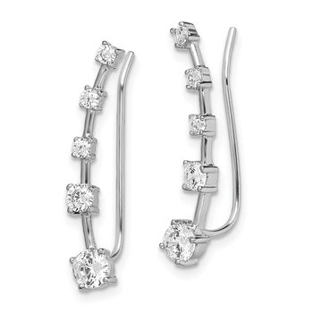 Sterling Silver Rhodium-plated Graduated CZ Ear Climber Earrings