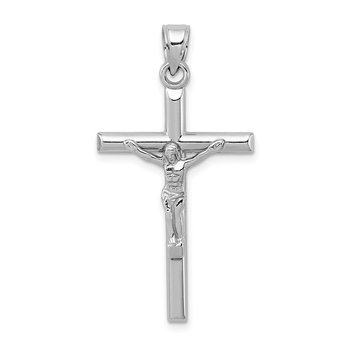 Sterling Silver Rhodium-plated Polished Crucifix Pendant