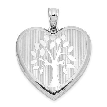 Sterling Silver Rhodium-plated Tree Ash Holder Heart Locket