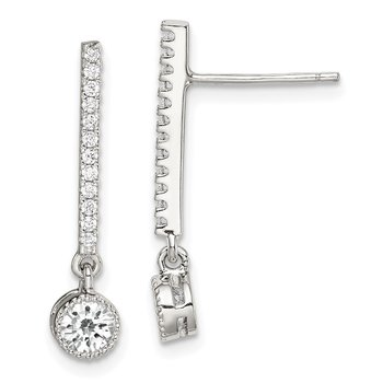 Sterling Silver CZ Drop Bar Post Earrings