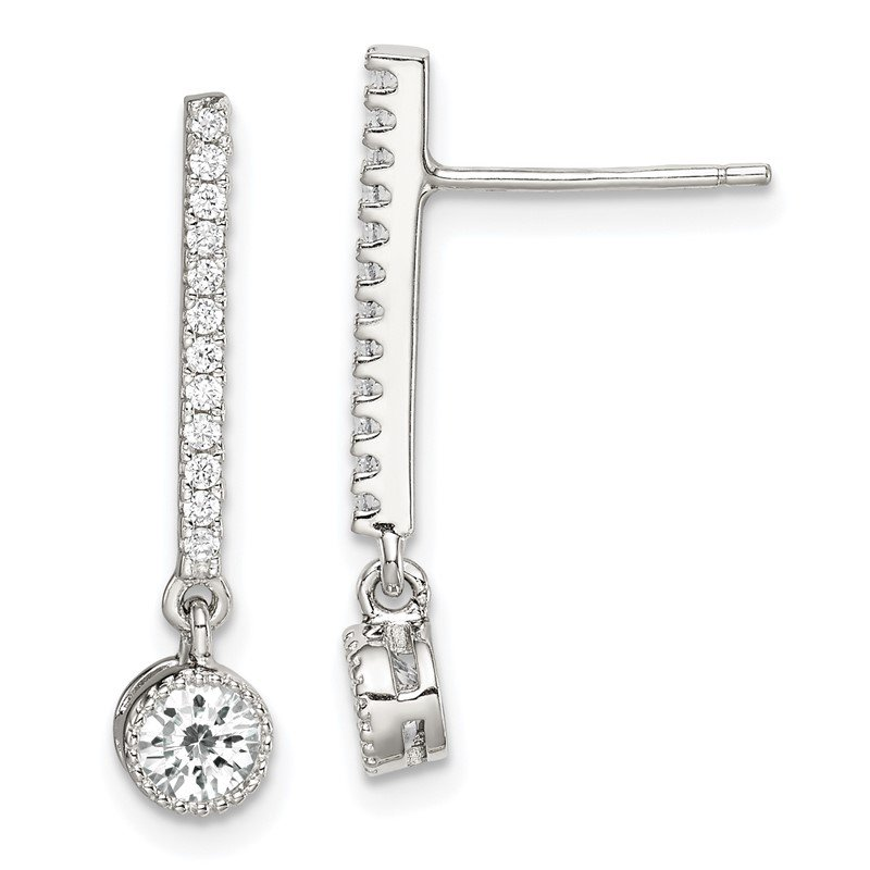 J.F. Kruse Signature Collection Sterling Silver CZ Drop Bar Post Earrings