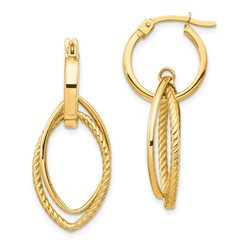 Quality Gold 14K Dangle Hoop Earrings