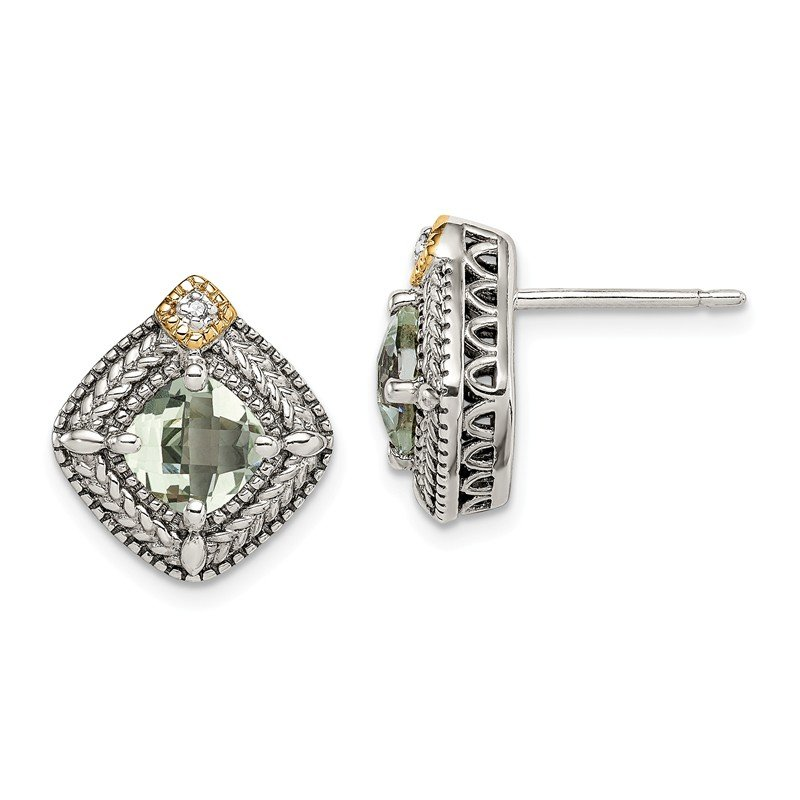 Shey Couture Sterling Silver w/ 14K Accent Green Quartz & Diamond Post Earrings