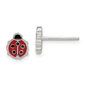 Sterling Silver Polished & Enameled Ladybug Post Earrings