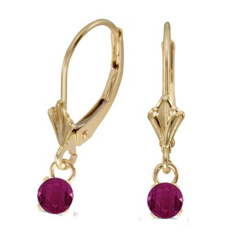 14k Yellow Gold 5mm Round Genuine Ruby Lever-back Earrings