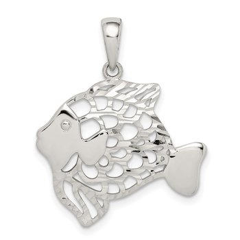 Sterling Silver Diamond-cut Fish Pendant
