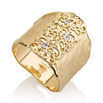 14K-Y FILIGREE CUFF RING, 0.03CT