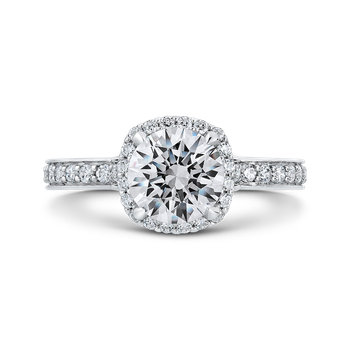 Round Diamond Halo Engagement Ring In 18K White Gold (Semi-Mount)