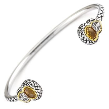 18kt and Sterling Silver Diamond and Citrine Bangle