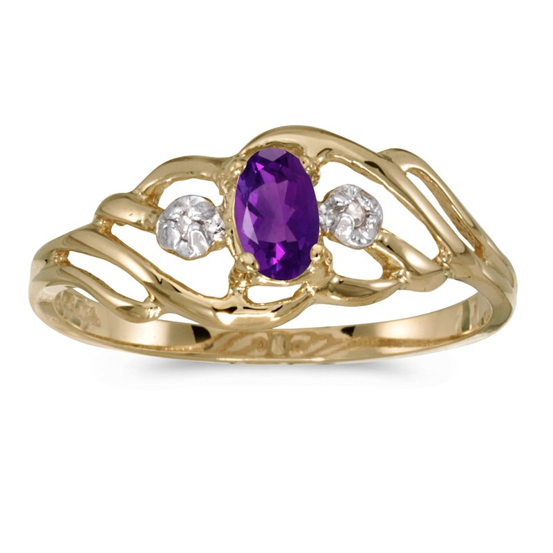 Color Merchants 10k Yellow Gold Oval Amethyst And Diamond Ring