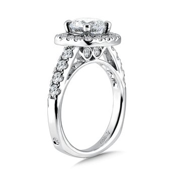 Diamond Halo Engagement Ring with Side Stones in 14K White Gold with Platinum Head (1-1/2ct. tw.)