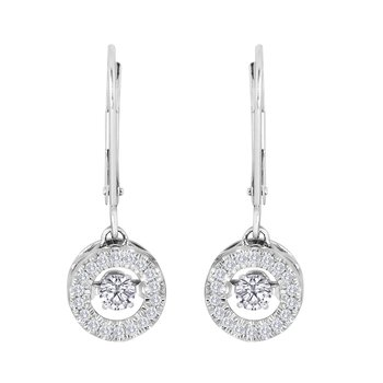 14KW 3/8CTW CIRCLE SHAPE HEARTBEAT COLLECTION EARRING