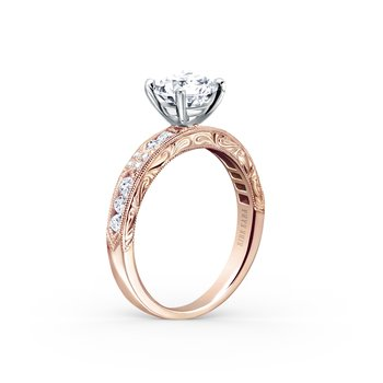 Artful Engraved Diamond Solitare Engagement Ring