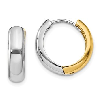 14K Two-tone Huggie Earrings