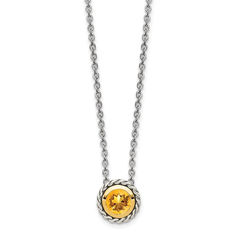 Quality Gold Sterling Silver w/ 14K Accent Citrine Necklace