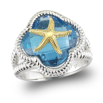 "Sterling Silver and 14K Starfish Ring with Blue Topaz 1/2"" wide on top"
