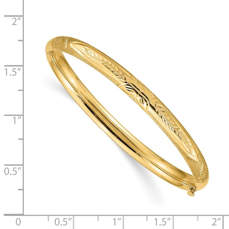Quality Gold 14k Florentine Hinged Baby Bangle
