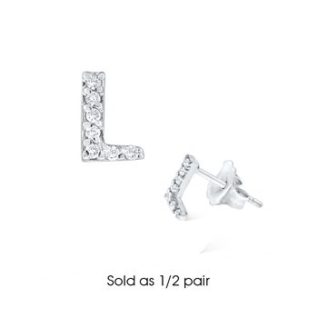"Diamond Single Initial ""L"" Stud Earring (1/2 pair)"
