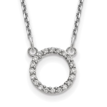 14k White Gold Diamond Open Circle Necklace