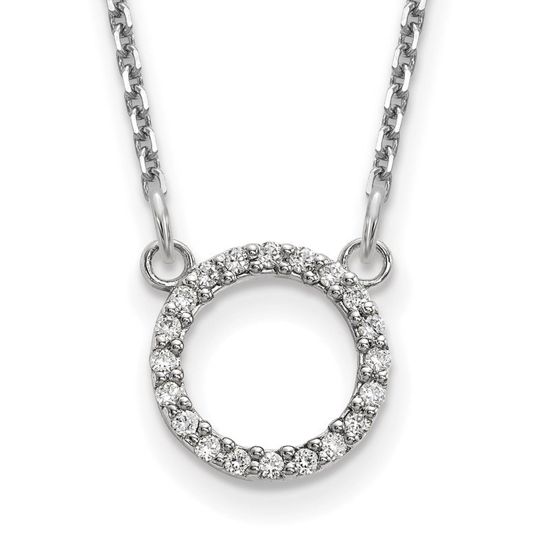 Quality Gold 14k White Gold Diamond Open Circle Necklace