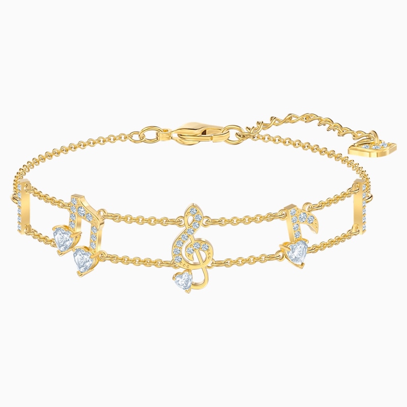 Swarovski Pleasant Bracelet, White, Gold-tone plated